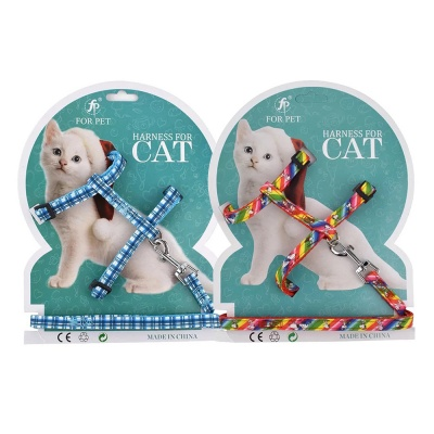 Cats Collars Harnesses(Plaid & Rainbow)