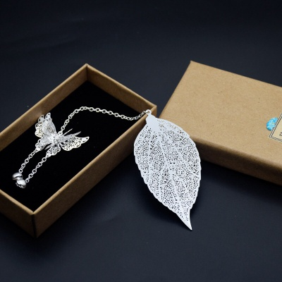 Vintage Metal Book Mark Bookmarks Leaf with Pendants for Students Girls Women (Silver 3D Butterfly)