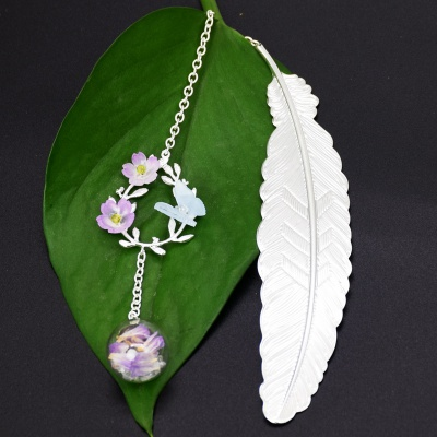Creative Bookmark with Beautiful Pendants  (Silver Feather & Garland & Flower Ball)