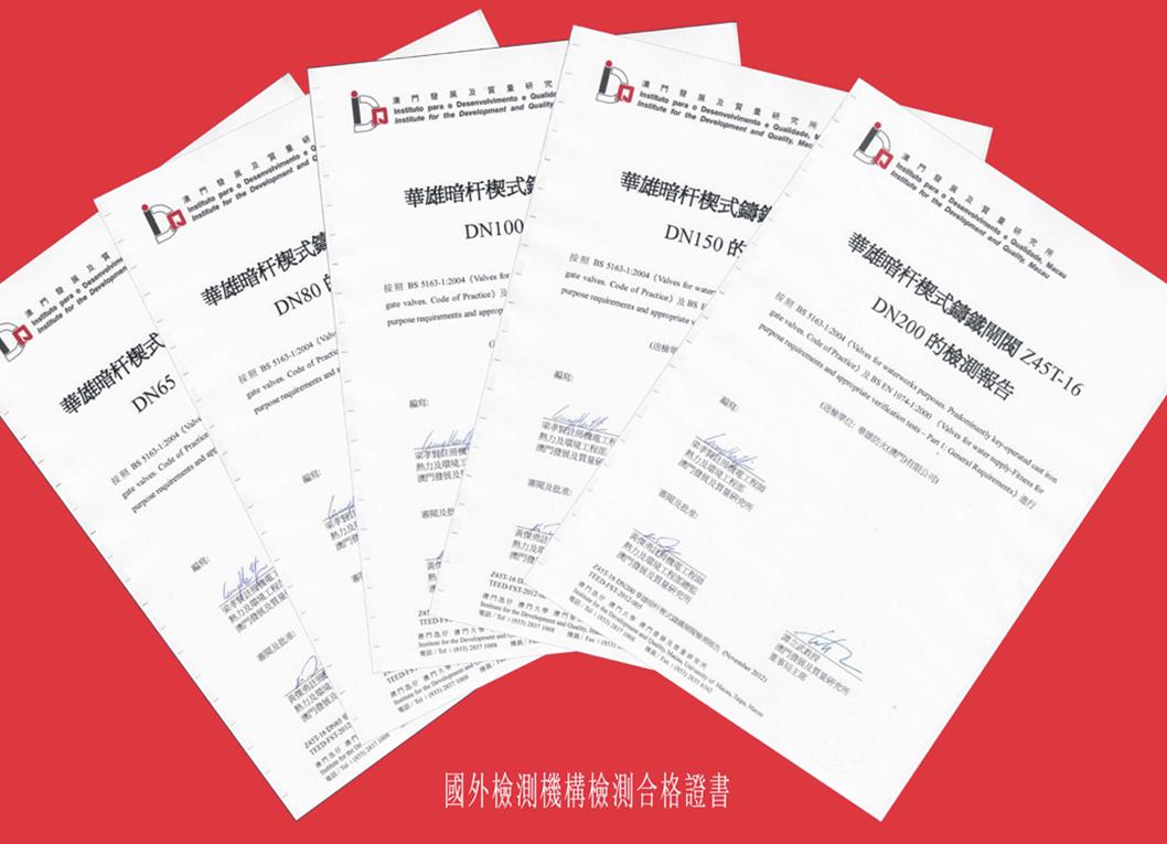 國外檢測機構檢測合格證書