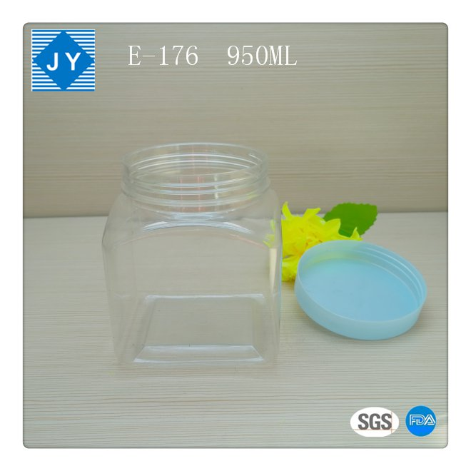 1000ml 32oz large Square pet plastic jar