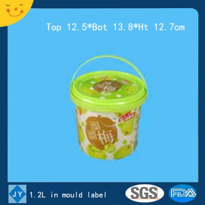 1.2L plastic bucket in mould label