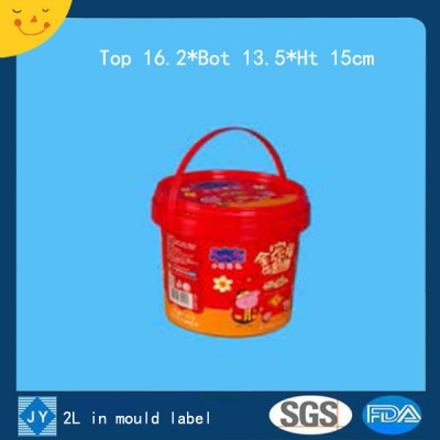 2L in mould label plastic bucket