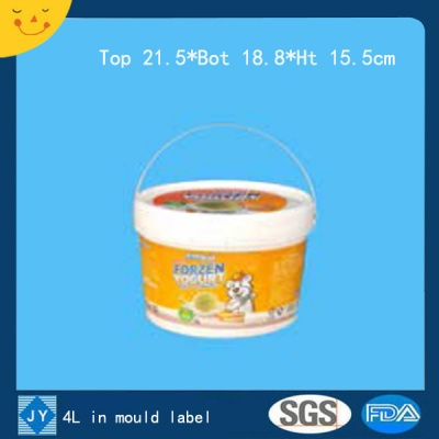 4L in mould label plastic bucket