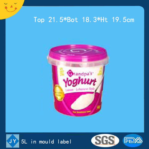 5L in mould label plastic bucket
