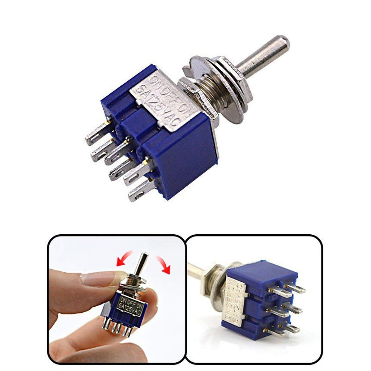 AC 125V 6A Amps ON/ON 6 Terminals 2 Position DPDT Toggle Switch MTS202