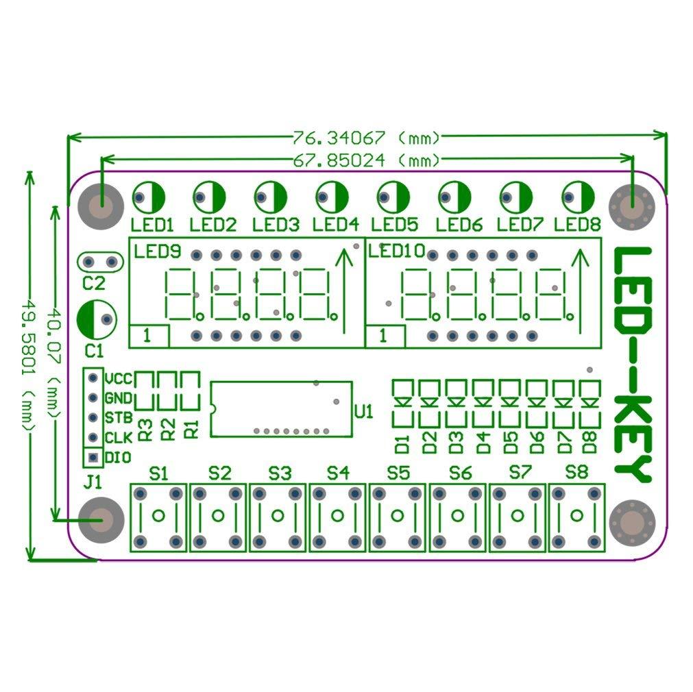 8-Bit LED 8-Bit Digital Tube 8 KeyS TM1638 Display module for AVR Arduino ARM
