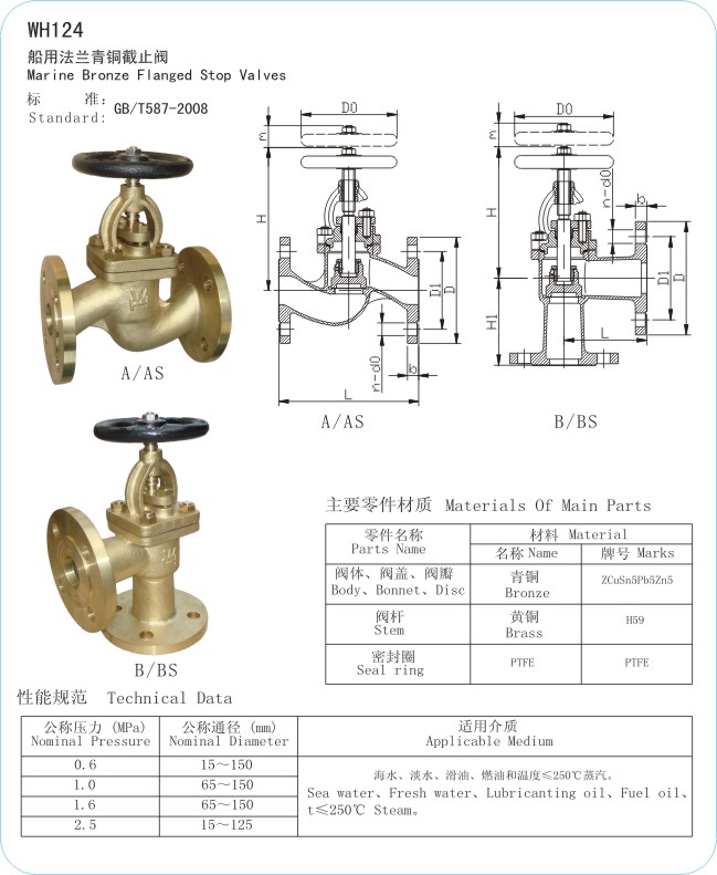 WH124 Marine Bronze Flanged Stop Valves/Stop Check Valves
