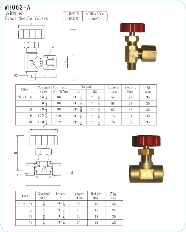 WH062-A Brass Needle Valves