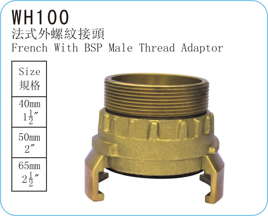 WH100 French Type With BSP Male Thread Adaptor