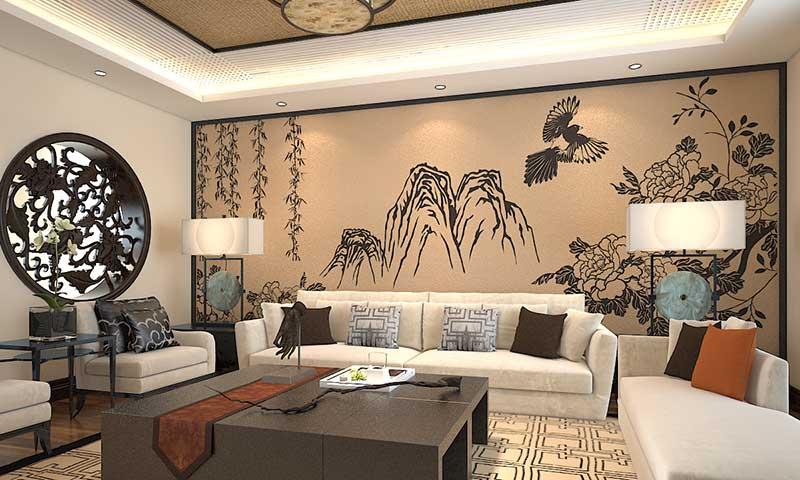 贝壳粉背景墙图片