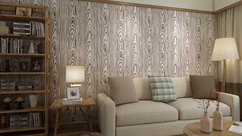 贝壳粉沙发墙效果图