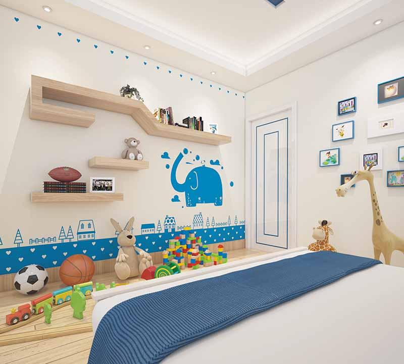 贝壳粉儿童房背景墙