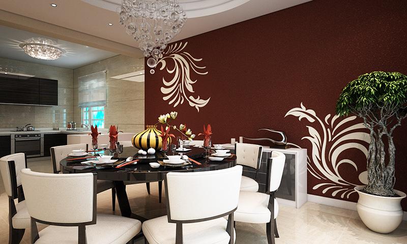 贝壳粉餐厅墙面效果图