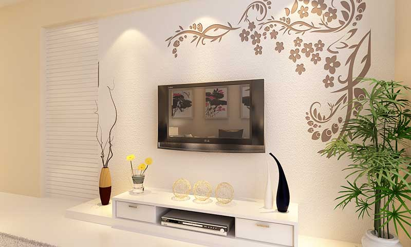 这是贝壳粉电视背景墙图片