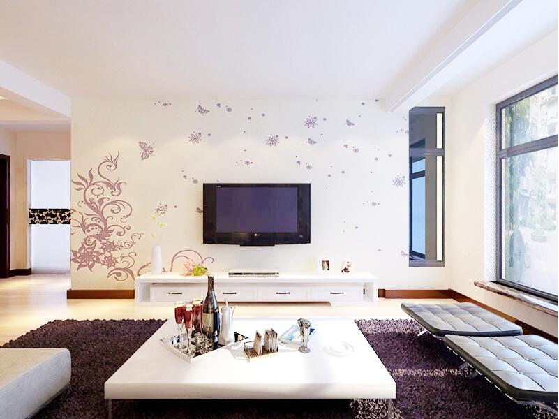 这是贝壳粉的电视背景墙