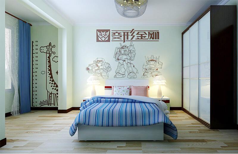 这是贝壳粉儿童房背景墙图片