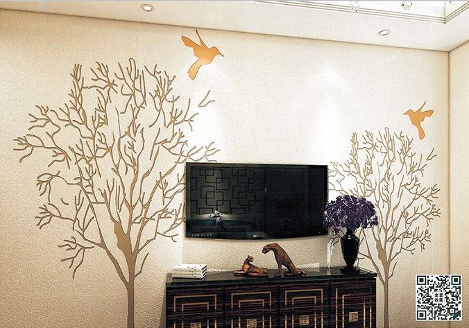 贝壳粉电视墙效果图