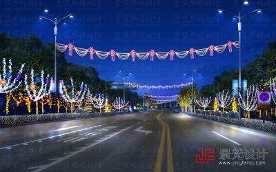 道路亮化设计节日夜景效果图