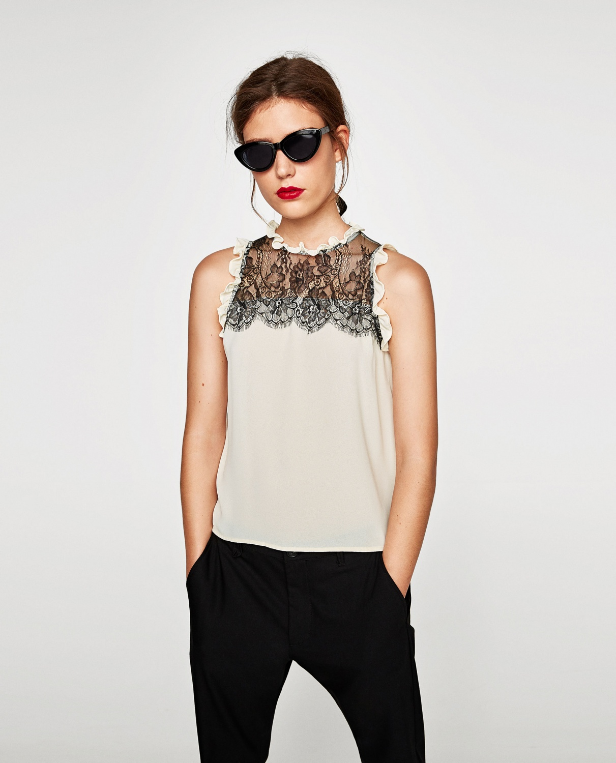 Chiffon Top with lace contrast