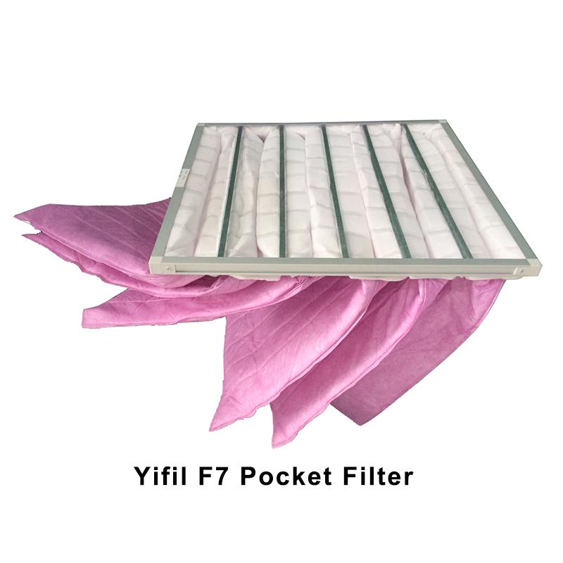 Pocket filter clean room fresh air ventilation system prefilter medium efficiency filter