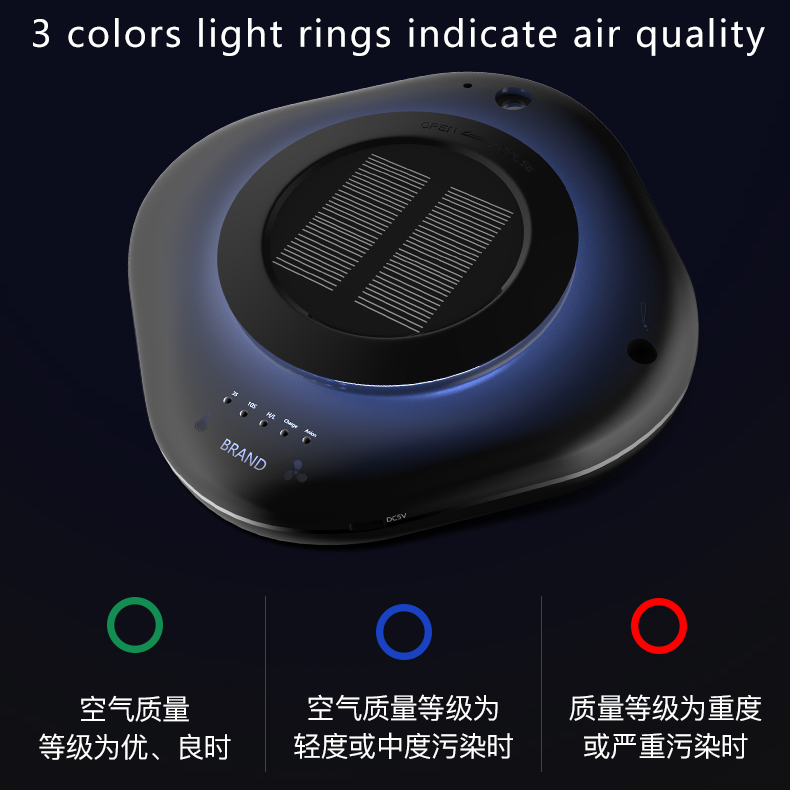 Aromatherapy oil Humidifier Car air purifier with solar panel