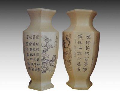 陶瓷禮品紫砂六角對瓶