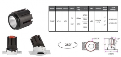 Oval 3'' Trimless Downlight