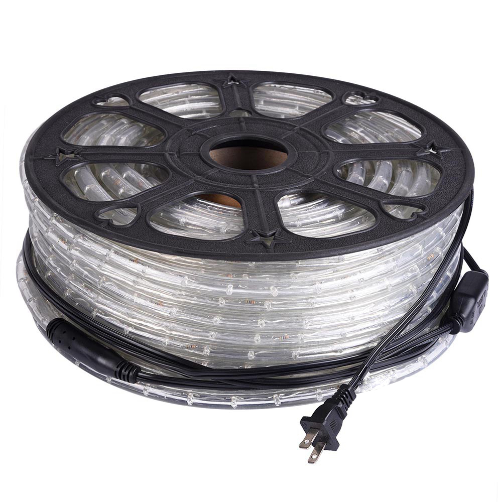165FT Cool White LED Rope Lights Kit, 360 Degre, 120V, Connectable, Indoor/Outdoor lighting, 1/2""