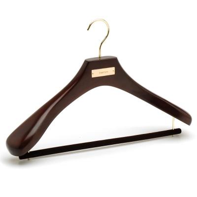 Premium Custom Logo Dark Walnut Luxury Wooden Coat Suit Hanger with Velvet Pant Bar