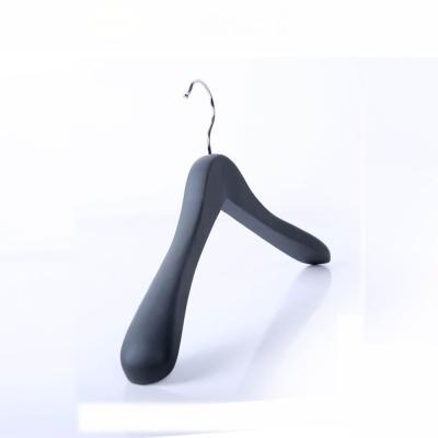 Wholesale Gray Luxury Wooden Rubber Coated Coat Hanger