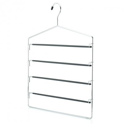 Chrome Metal 4 Tier Trouser Hanger with Non Slip Swing-Out Arms