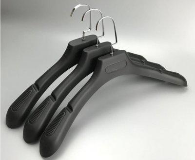 Plastic coats hangers with wide shoulders