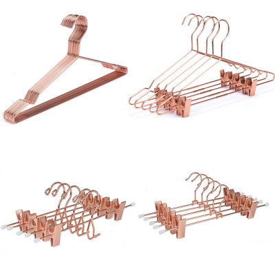 Fashionable metal wire hangers with clips rose gold hanger