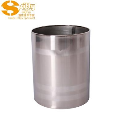 砂光橫紋圓形不銹鋼垃圾桶