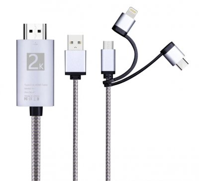 3 in 1 Multiple USB Charging Connector to HDMI Cable