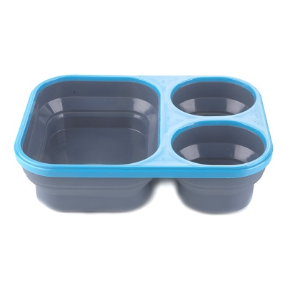 Multifunction Collapsible box three spoons lunch box for kids