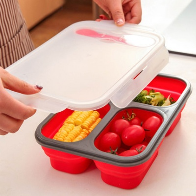 Wholesale china products carved process rectangle 3 layer lunch box with compartment