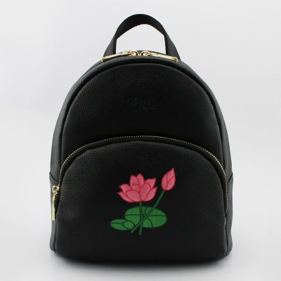 New Style Real Leather Backpack ,Embroidery Lotus Fower Lady Bag